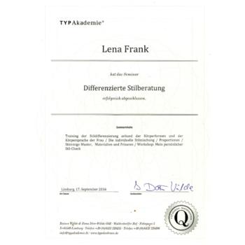 Zertifikat- Lena Frank - Differenzierte Stilberatung 2016