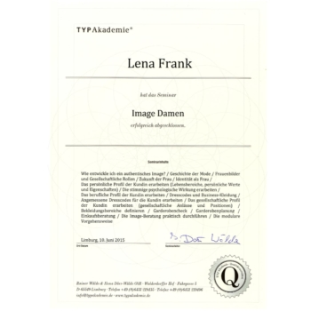 Zertifikat - Lena Frank - Image Damen 2015