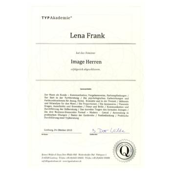 Zertifikat- Lena Frank - Image Herren 2015