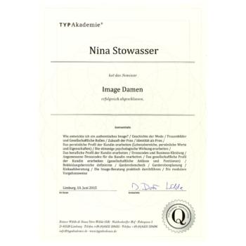 Zertifikat - Nina Stowasser - Image Damen 2015