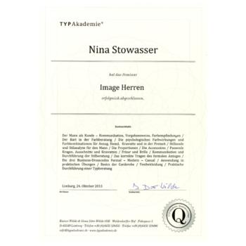 Zertifikat - Nina Stowasser - Image Herren 2015